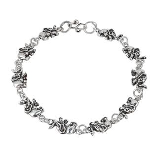 Fortunate Elephant Link .925 Sterling Silver Bracelet (Thailand)