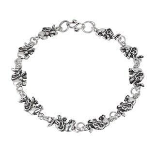 Handmade Fortunate Elephant Link .925 Sterling Silver Bracelet (Thailand)