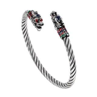 Majestic Dual Asian Dragons Head .925 Silver Cuff Bracelet (Thailand)