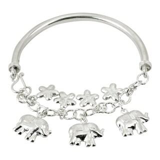 Handmade Daisy Flowers Elephant Medley Dangle .925 Sterling Silver Bracelet (Thailand)