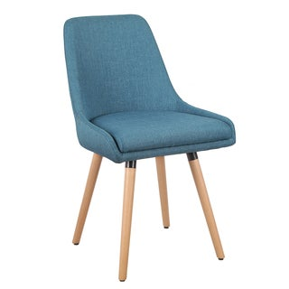 Adeco Armless Fabric Accent Leisure Chair with Wood Leg