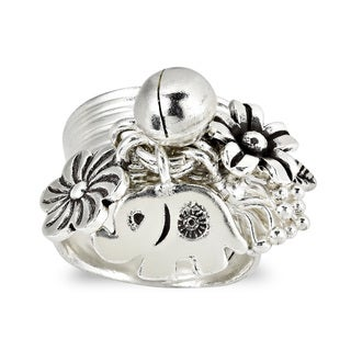 Handmade Elephant Jungle Jingle Cluster Dangle Wrap Fine Sterling Silver Ring (Thailand)
