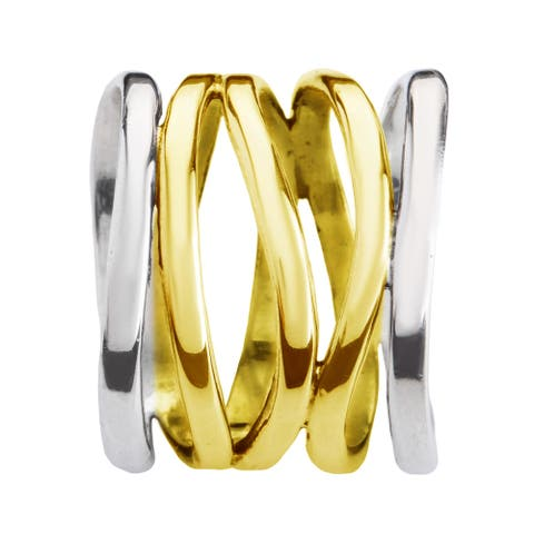 Handmade Trendy Wide Five Band Coil Wrap Gold over Sterling Silver Ring (Thailand)