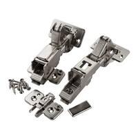 Blum Silver-finished Metal 170-degree Clip-top Frameless Inset Hinge Kit
