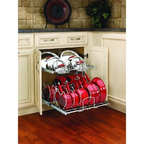 Rev-A-Shelf Chrome Metal 21-inch Pullout 2-tier Cabinet Cookware Organizer