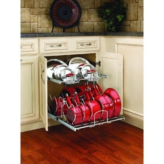 Rev A Shelf Chrome Metal 21 Inch Pullout 2 Tier Cabinet Cookware