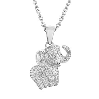 Sterling-silver Cubic Zirconia Elephant Pendant Necklace