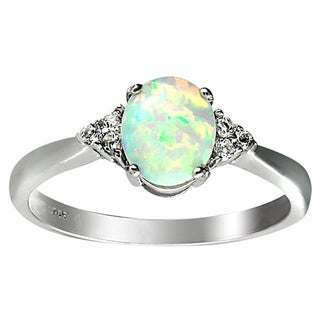 Sterling Silver Rhodium-plated Created White Opal and White Topaz Ring