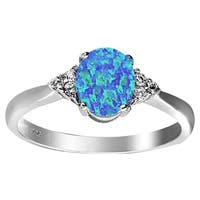 Rhodium-plated Sterling Silver Created Blue Opal and White Topaz Ring
