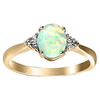Goldplated Sterling Silver Created White Opal and White Topaz Ring