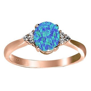 Sterling Silver Rose Gold-plated Created Blue Opal and White Topaz Ring