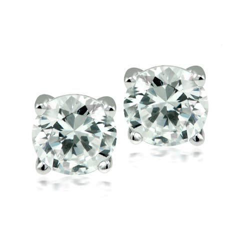 Round-cut Austrian Crystal Elements Stud Earrings - white