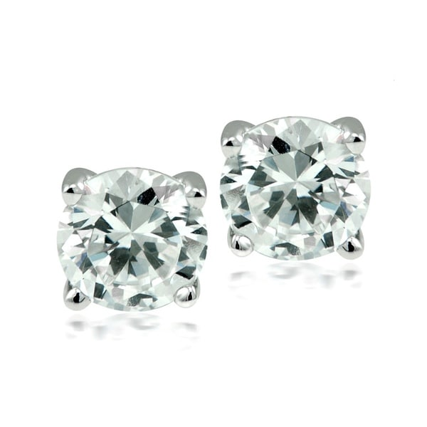 Round-cut Austrian Crystal Elements Stud Earrings - white. Opens flyout.