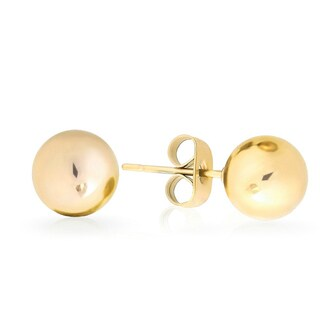 Sterling Silver Goldplated Smooth Ball Stud Earrings