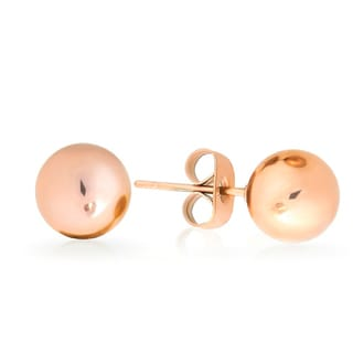 Sterling Silver Rose Gold Plated 3 -7 millimeter Smooth Ball Stud Earrings