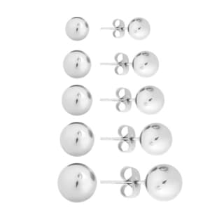 Sterling Silver 3-7mm Smooth Ball Stud Earrings Set