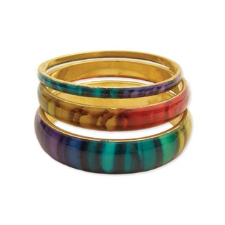 Set of 3 Rainbow Striped Tie Dye design Enamel Bangles