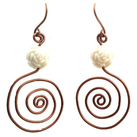 Heavenly Beads Spiral Earrings - Bronze