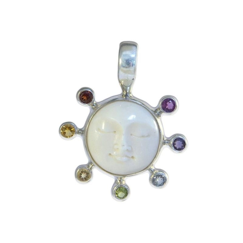 Shop Handmade Sterling Silver Chakra Moon Face Necklace Indonesia On Sale Overstock 13003069