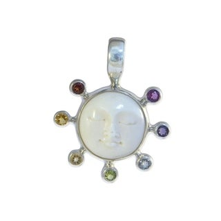 Sterling Silver Chakra Moon Face Pendant
