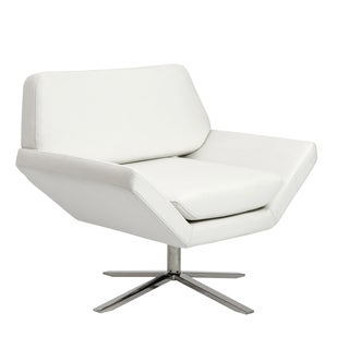 Carlotta Lounge Chair in White with Brushed Stainless Steel