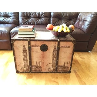 Decorative London Bell Wood Large Steamer Trunk Chest