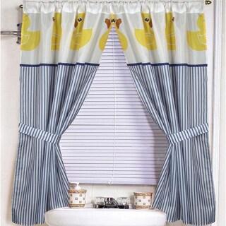 Rubber Ducky Print Fabric 34 inch by 54-inch Bathroom Window Curtain/Holdback Set