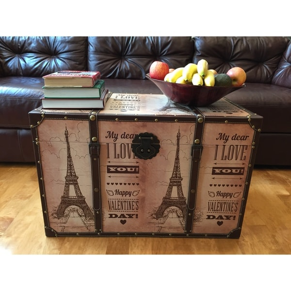 Paris Valentineu0026#x27;s Day Wood Large Decorative Steamer Trunk/Treasure  Hope Chest