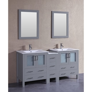 bosconi 72 inch grey double vanity set with white ceramic tops mirrors and