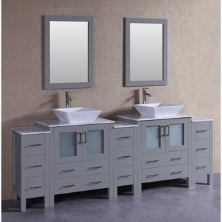Bosconi 96-inch Grey Double Vanity Set with White Marble Tops