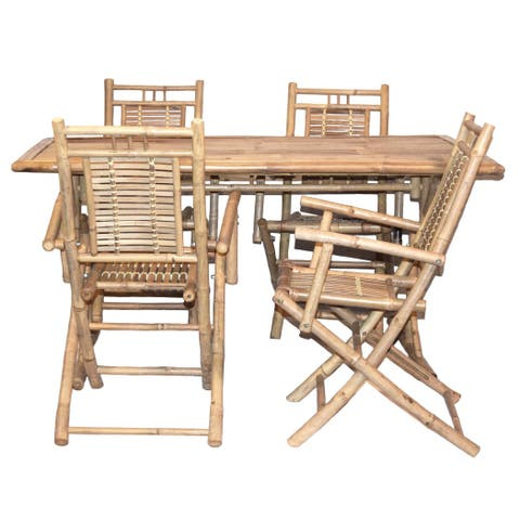 Handmade Large Adjustable Table With 4 Arm Chair Dining Set (Vietnam)