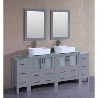 Bosconi 84-inch Grey Double Vanity Set with Tempered Glass Tops