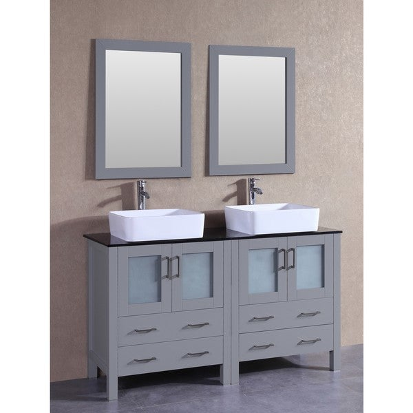 Bosconi 60-inch Grey Double Vanity Set with Black Tempered Glass Tops, Mirrors, and Faucets