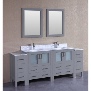 Bosconi AGR230CMU2S White Marble 84-inch Grey Double Vanity Set with 2 Mirrors and Chrome Faucets