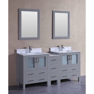 Bosconi 72-inch Grey Double Vanity Set with White Marble Tops