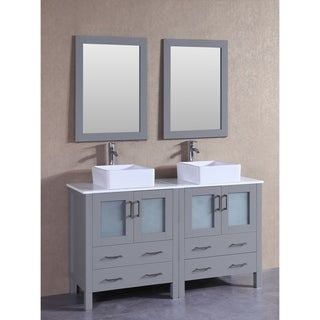 Bosconi 60-inch Grey Double Vanity Set with White Tempered Glass Tops