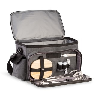 Link to Bey Berk Tail-gate Black and Grey Canvas BBQ Kit and Cooler Set Similar Items in Picnic