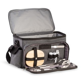 Bey Berk Tail-gate Black and Grey Canvas BBQ Kit and Cooler Set
