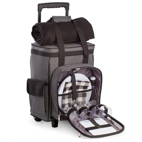 Bay Berk 'Freddie' Black/Grey Canvas/Nylon/Stainless Steel Picnic Trolley