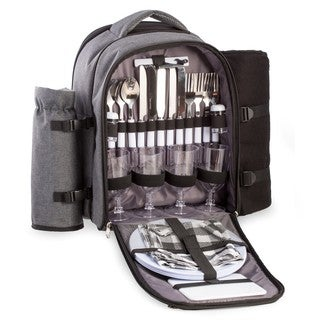 Bey Berk Alex Black and Grey Canvas Picnic Backpack With Stainless Steel Utensils