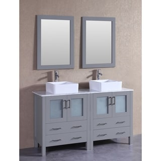 Bosconi 60 Inch Grey Double Vanity Set With White Marble Tops, Mirrors, And