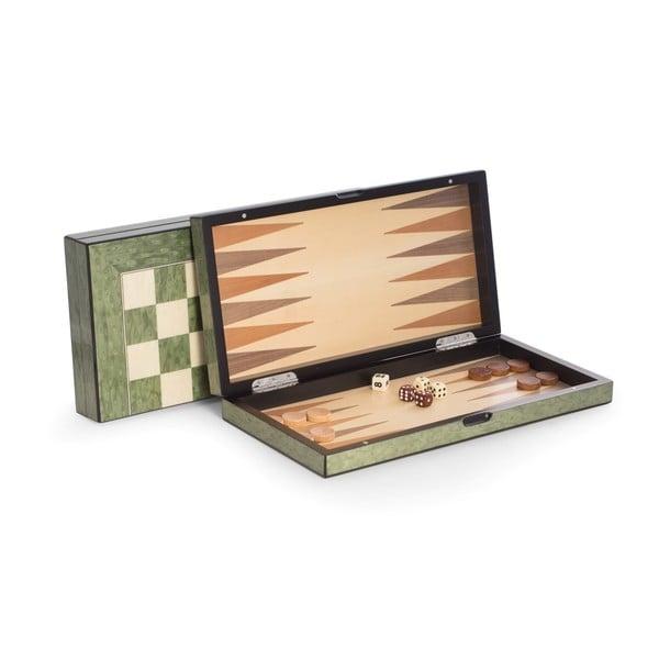 Bey Berk 'Felix' Brown Wood Chess, Checkers, and Backgammon Set