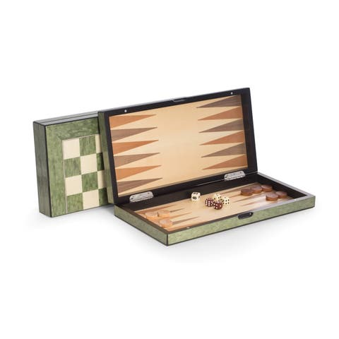 Bey Berk 'Felix' Brown Wood Chess, Checkers, and Backgammon Set
