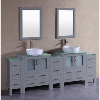 Bosconi 96-inch Grey Double Vanity Set with Tempered Glass Tops