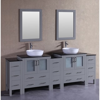 Bosconi 96-inch Grey Double Vanity Set with Black Tempered Glass Tops
