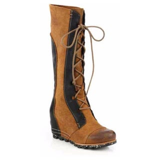 Sorel Cate the Great Brown Leather Wedge Boot