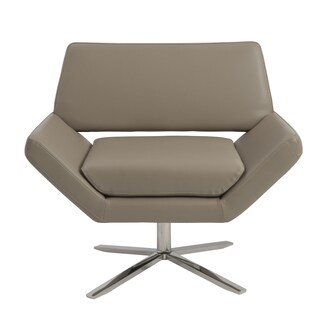 Carlotta Lounge Chair in Taupe with Brushed Stainless Steel