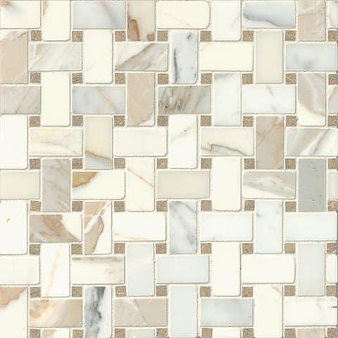 Bedrosians Hillcrest Stone Basket-weave Mosaic Tile (Pack of 10)