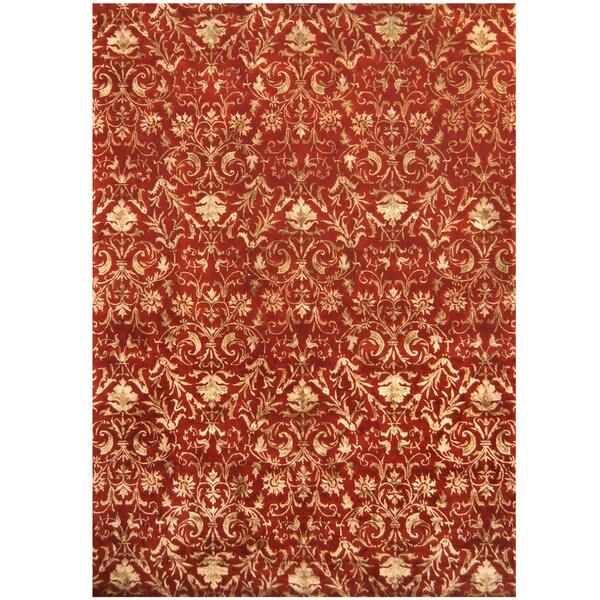 Handmade Herat Oriental Indo Tibetan Wool & Silk Rug - 10' x 14' (India)