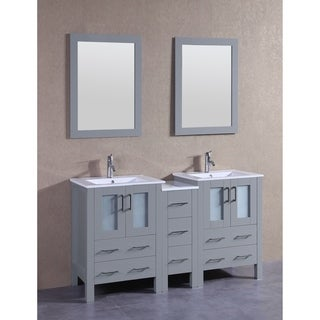 Bosconi 60 Inch Grey Double Vanity Set With White Tempered Glass Tops,  Mirrors,